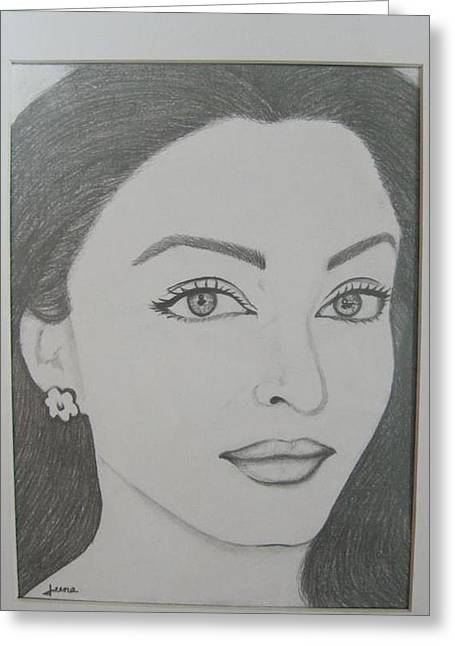 Pencil Drawing Greeting Card by Rejeena Niaz