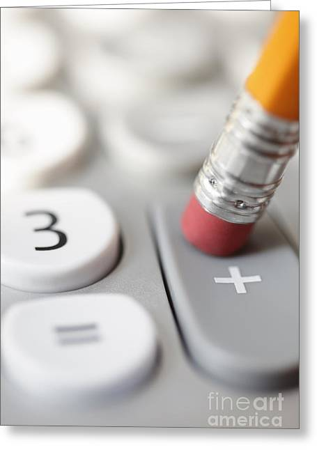 Pencil Pushing Addition Button On Calculator Greeting Card