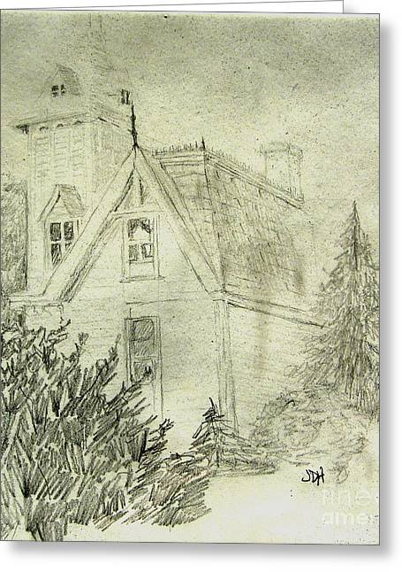 Pencil Sketch Of Old House Greeting Card by Joseph Hawkins