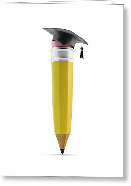 Pencil With Graduation Cap Greeting Card