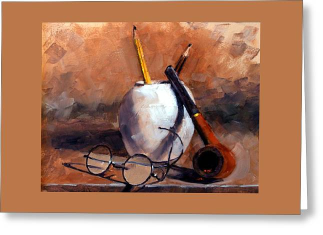 Pencils And Pipe Greeting Card