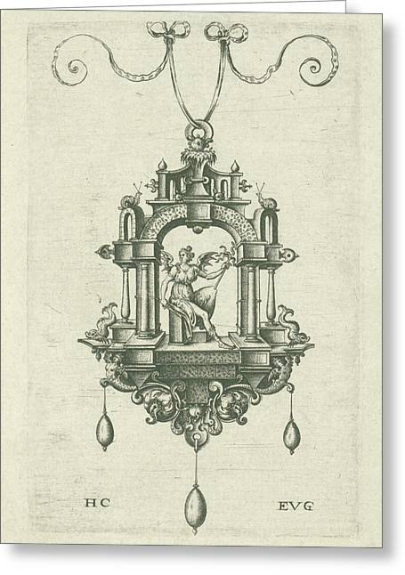 Pendant Pendeloque With A Winged Woman With Snake Sword Greeting Card