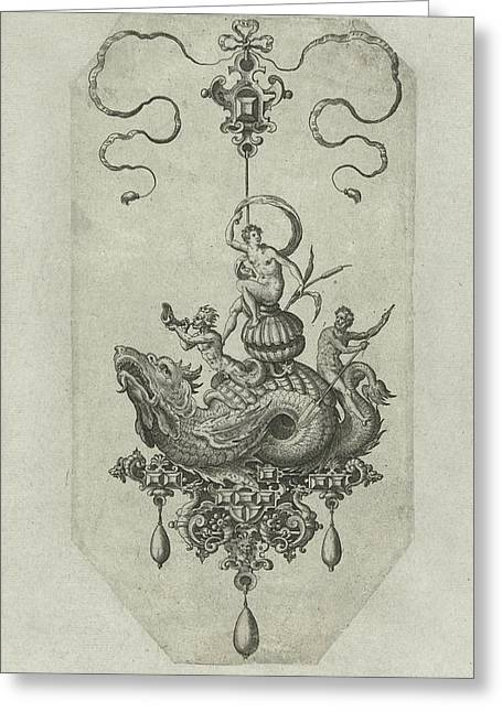 Pendant With Dragon With A Double Shell On His Back Greeting Card