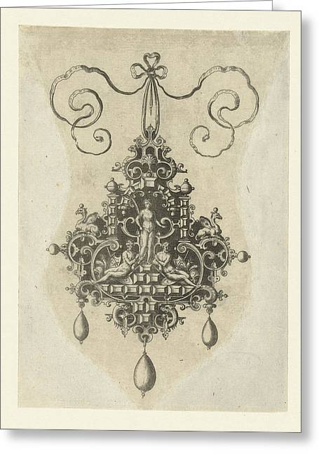 Pendant With In The Middle A Peace Goddess With Palm Branch Greeting Card by Anonymous And Hans Collaert I And Philips Galle