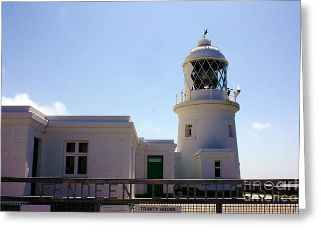 Pendeen Lighthouse Cornwall Greeting Card by Terri Waters