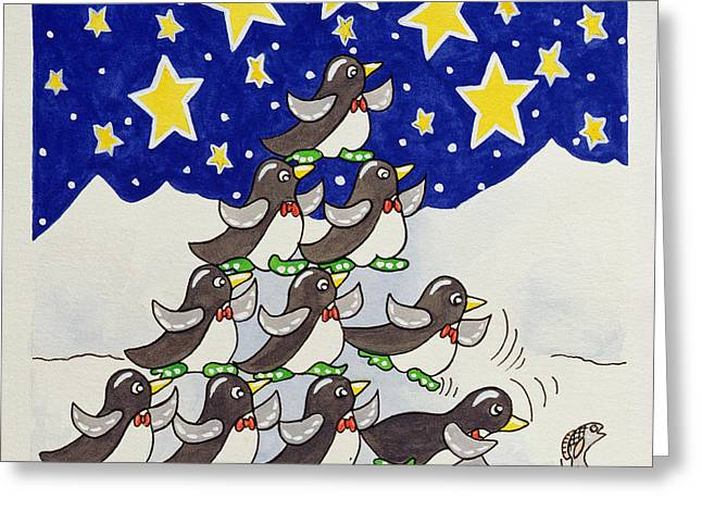 Penguin Formation Greeting Card by Tony Todd