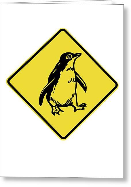 Penguin Warning Sign, Australia Greeting Card