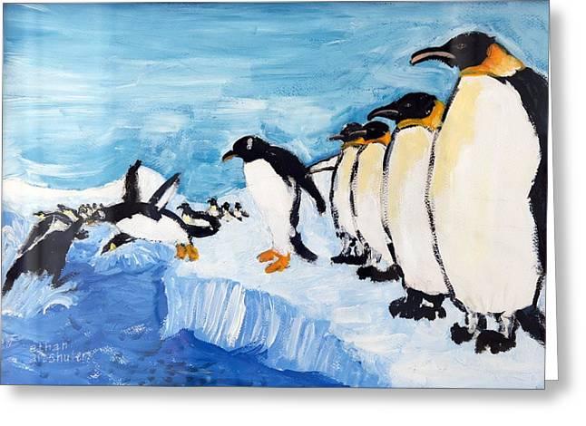 Penguins Greeting Card by Ethan Altshuler