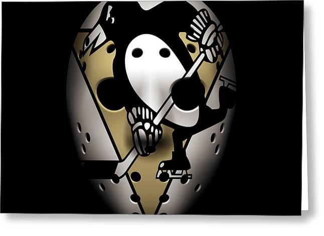 Penguins Goalie Mask Greeting Card by Joe Hamilton