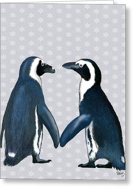 Penguins In Love Greeting Card by Kelly McLaughlan