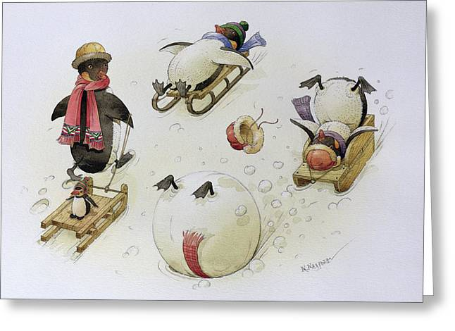 Penguins Sledging Greeting Card by Kestutis Kasparavicius