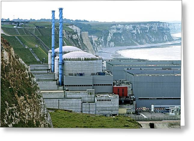 Penly Nuclear Power Station Greeting Card by Martin Bond