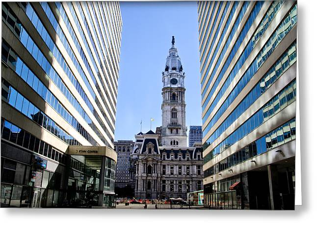 Penn Center And City Hall Philadelphia Greeting Card by Bill Cannon