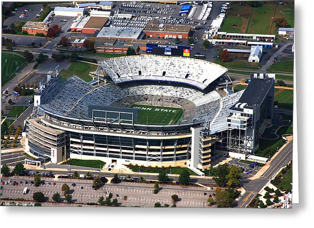 Penn State Beaver Stadium Aerial Greeting Card by Mattucci Photography