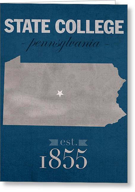 Penn State University Nittany Lions State College Pa College Town State Map Poster Series No 088 Greeting Card by Design Turnpike