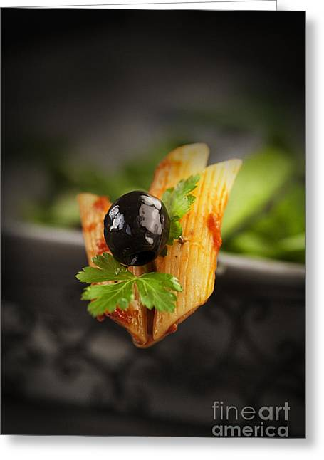 Penne With Olives Greeting Card by Mythja  Photography