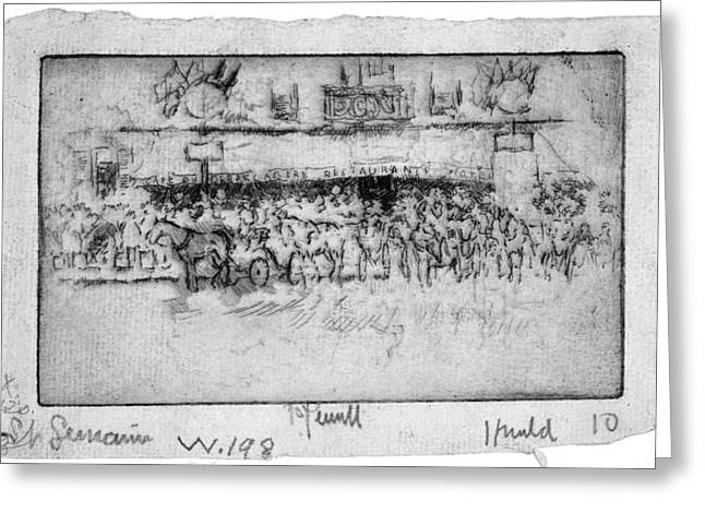 Greeting Card featuring the painting Pennell Cafe Barcadere, 1893 by Granger