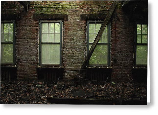 Pennhurst Brick Windows Greeting Card by W Scott Phillips