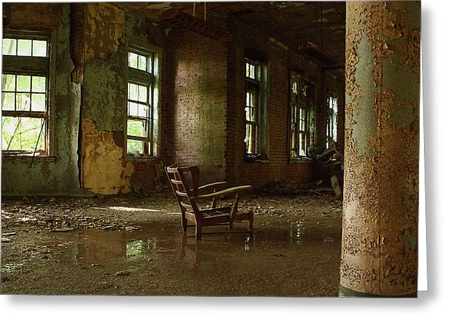 Pennhurst Chair In A Wet Room Greeting Card by W Scott Phillips