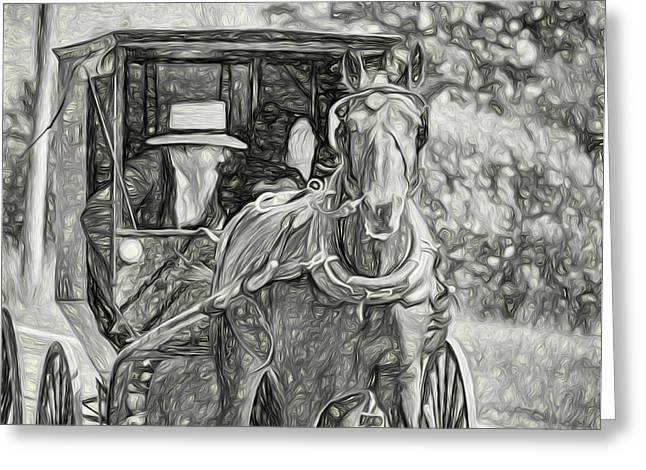 Pennsylvania Amish 2 -  Bw Greeting Card by Steve Harrington