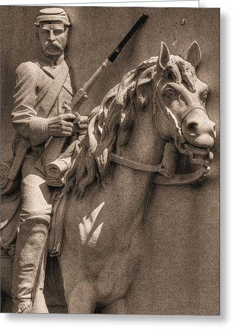 Pennsylvania At Gettysburg - 17th Pa Cavalry Regiment - First Day Of Battle Greeting Card by Michael Mazaika
