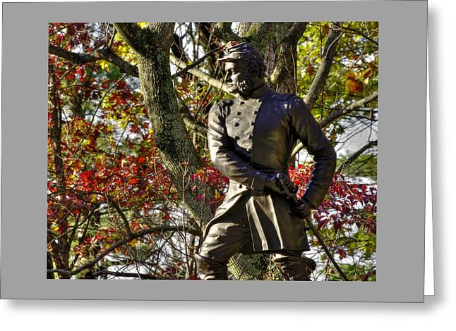 Pennsylvania At Gettysburg - Col Strong Vincent 83rd Pa Volunteer Infantry Close-2b Little Round Top Greeting Card by Michael Mazaika