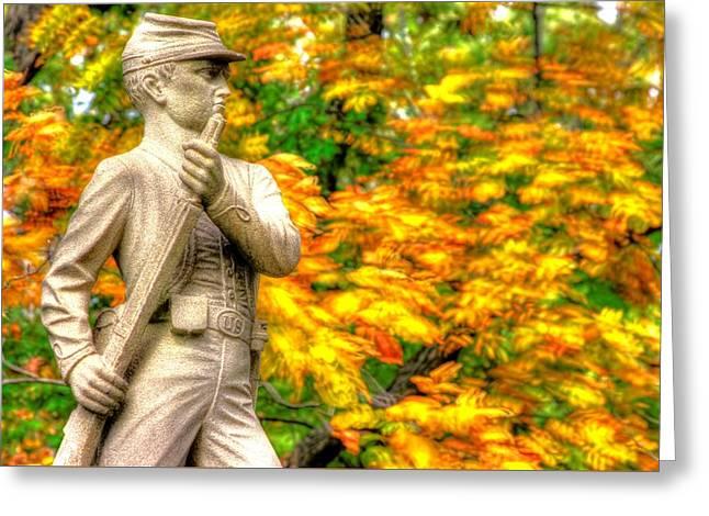 Pennsylvania At Gettysburg - The Rush To Battle 23rd Pa Volunteer Infantry Birneys Zouaves - Close B Greeting Card