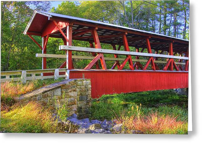 Pennsylvania Country Roads - Colvin Covered Bridge Over Shawnee Creek - Autumn Bedford County Greeting Card