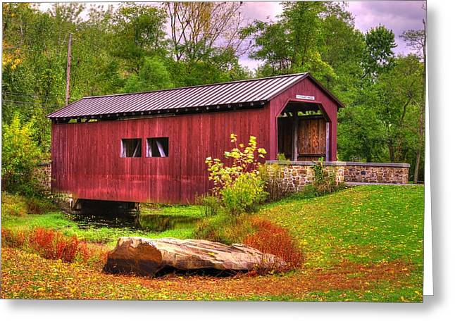 Pennsylvania Country Roads - Everhart Covered Bridge At Fort Hunter - Harrisburg Dauphin County Greeting Card