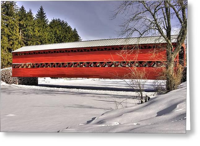 Pennsylvania Country Roads - Sachs Covered Bridge Over Marsh Creek B1 - Adams County Winter Greeting Card