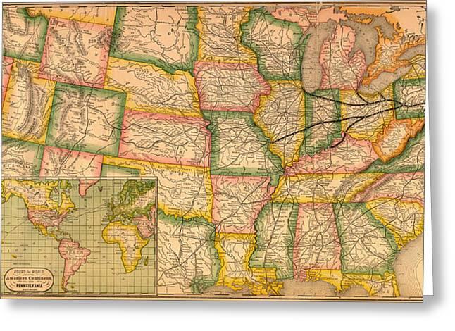 Pennsylvania Railroad Map 1879 Greeting Card
