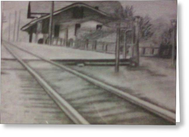 Greeting Card featuring the drawing Pennsylvania Railroad Station by Thomasina Durkay