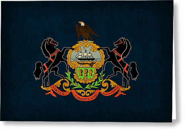 Pennsylvania State Flag Art On Worn Canvas Greeting Card