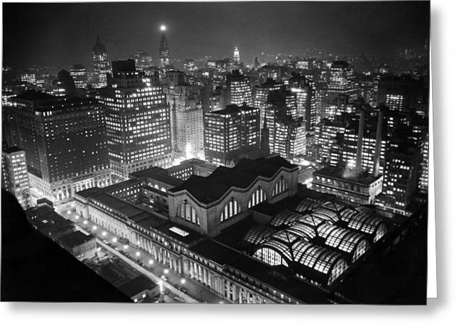 Pennsylvania Station At Night Greeting Card by Underwood Archives