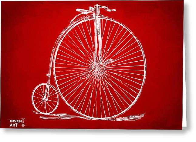 Penny-farthing 1867 High Wheeler Bicycle Patent Red Greeting Card
