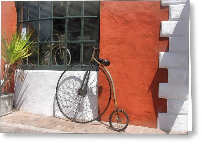 Penny-farthing In Front Of Bike Shop Greeting Card by Susan Savad