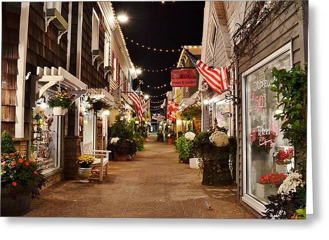 Penny Lane At Night - Rehoboth Beach Delaware Greeting Card