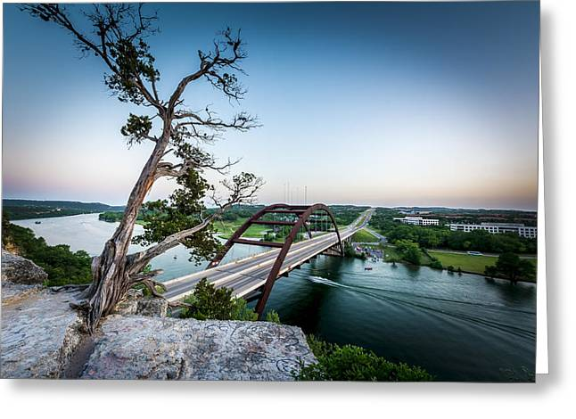 Pennybacker Bridge Austin Greeting Card by David Morefield