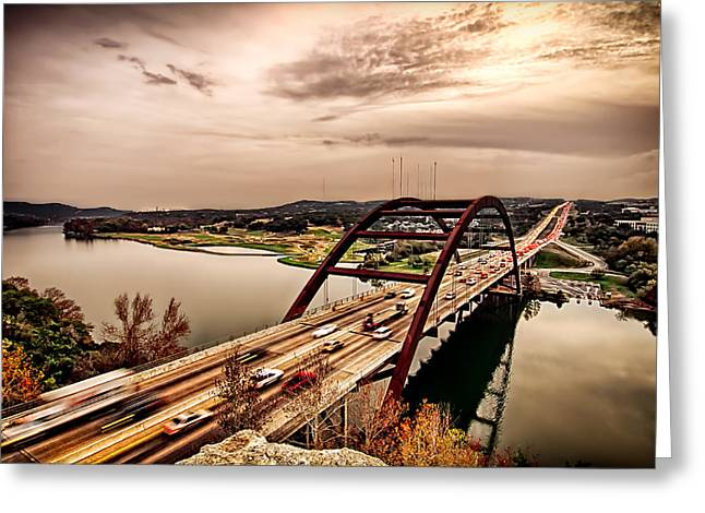 Pennybacker Bridge Sunset Greeting Card by John Maffei