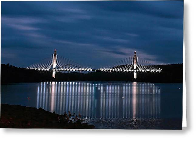 Penobscot Narrows Bridge And Observatory At Night Greeting Card
