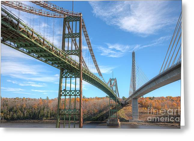 Penobscot Narrows Bridges Greeting Card by Clarence Holmes