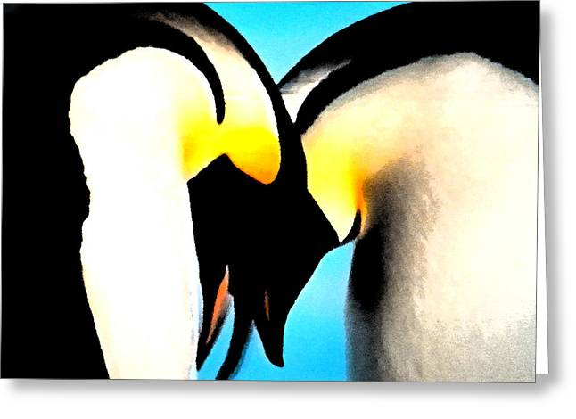 Penquin Love Dance Greeting Card by Colette V Hera  Guggenheim