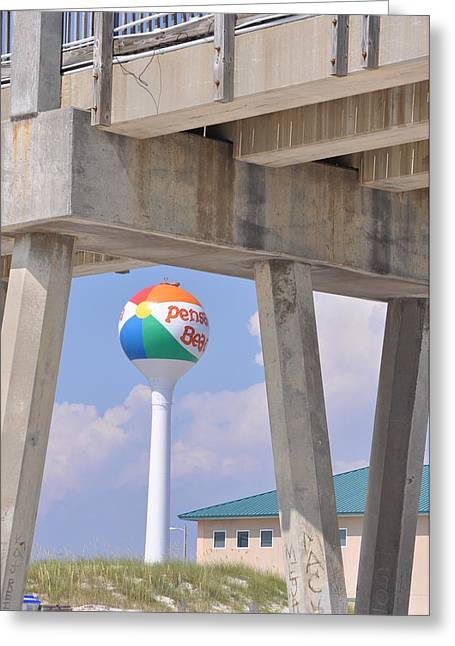 Pensacola Beach Ball And Pier Greeting Card