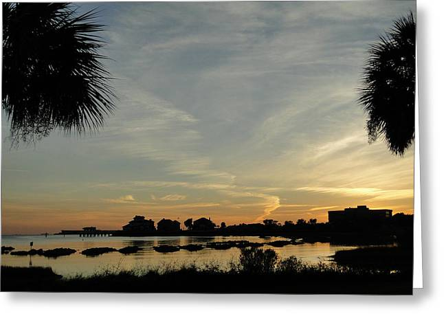 Pensacola Sunset Greeting Card by Cindy Croal