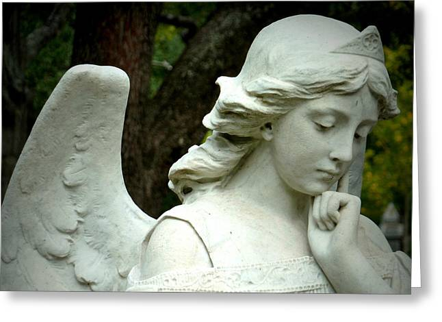 Pensive Angel Greeting Card by Gia Marie Houck