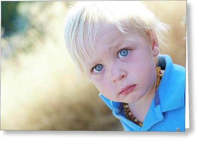 Pensive Boy Looking Towards Camera Greeting Card by Ruth Jenkinson