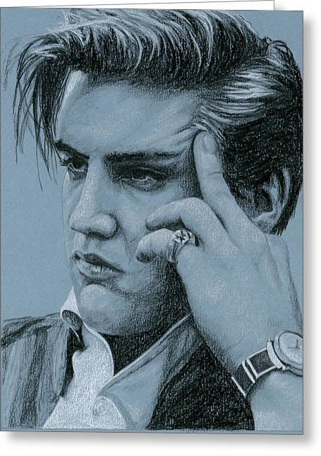 Pensive Elvis Greeting Card by Rob De Vries