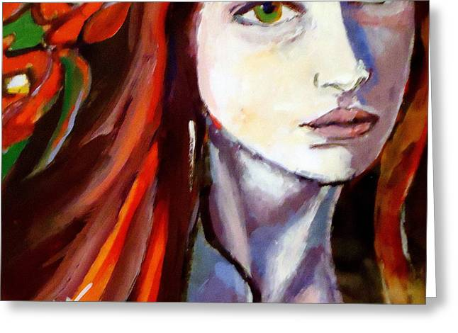 Greeting Card featuring the painting Pensive Lady by Helena Wierzbicki