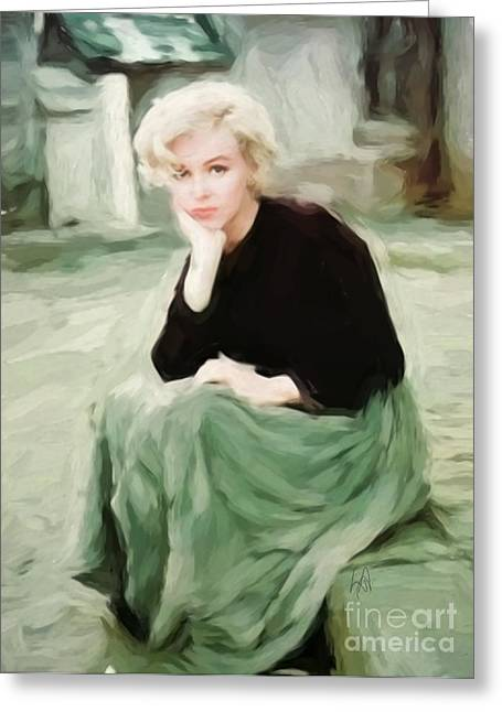 Pensive Marilyn Greeting Card by Lynne Alexander