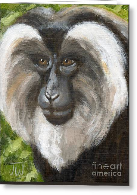 Greeting Card featuring the painting Pensive Monkey by June Walker